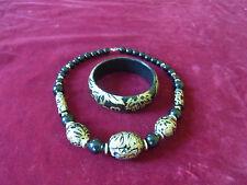 BIJOU 37 PARURE Collier & bracelet perles VINTAGE 80 NECKLACE BRACELET JEWEL SET