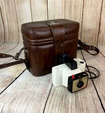 Polaroid Swinger Model 20 Land Camera White Vintage, Brown Leather Bag