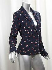 JUICY COUTURE RORI BLAZER Womens Navy Floral Print Light Jacket Coat M NEW