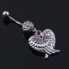 BEAUTIFUL Double Angel Eagle Wing Dangle Belly Ring Bar Navel Ring STUNNING MA