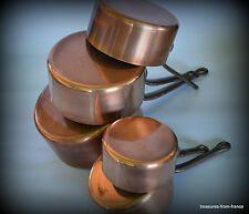 5 French copper pans saucepan 2mm professional casseroles en cuivre mauviel