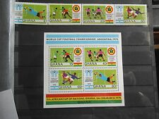 Ghana world cup Argentina stamps 1978 + miniature sheet with African cup of nati