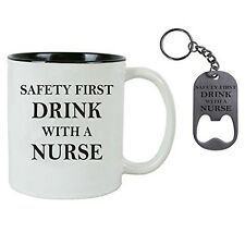 Drink with a Nurse RN 11 oz Ceramic Coffee Mug, Stainless Steel Bottle Opener