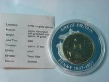 1937 Gold Plated ONE PENNY Coin Inlay on Silver Plated Proof Britannia Medal COA