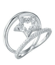 Sterling Silver (925) Cubic Zirconia CZ Star Band Ring   Size 7 - 9