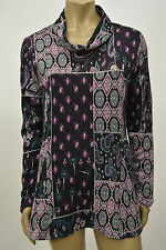 TRANSPARENTE DESIGNS GERMANY ARTSY COWL NECK PAISLEY PULLOVER SWEATER FUCHSIA S2