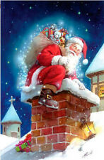 CHIMNEY SANTA Merry Christmas 2 Sided Breeze Decor Garden Flag Printed In USA