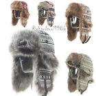 Unisex Winter Knit Russian Ear Flap Ushanka Cossack Cap Warm Trapper Aviator Hat