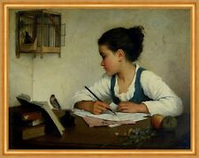 A Girl Writing; The Pet Goldfinch Henriette Browne pájaros jaula muelle B a2 02262