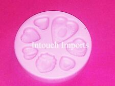 New 7 Patterned Heart Shapes Silicone Mould For Sugarcraft Cake Decorating