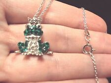 "green frog Prince 925 silver plt pendant 18"" necklace princess kiss kisses frogs"