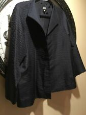 Eileen Fisher-Navy-100% Silk-textured-jacket/big Shirt-Sz.XL
