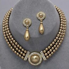 Golden pearl jewellery faux pearl diamante necklace set PROMS bridal 0365