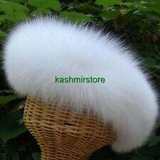 BRAND NEW GENUINE  WHITE FOX Fur HEADBAND Hat Scarf Wrap