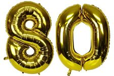 """16"""" 80 Gold Number Balloons 80th Birthday Party Anniversary Foil Balloon Decor"""
