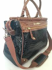 Samantha Brown Bag Faux Glazed Croc Embossed Travel Business Chic