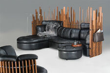 "125"" W sectional sofa Italian black leather waxed exotic wood incredible details"