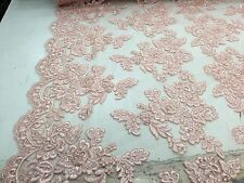 Peach Flowers Embroider And Beaded On A Mesh Lace.wedding/bridal/prom Fabric.