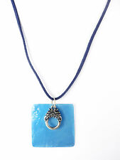 TROPICAL BLUE TRIBAL LADIES NECKLACE THIN SUEDE TEXTURE WITH GOLD CHARM (ZX1)