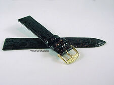 Slim Longines 18mm Black Leather shiny textured Watch Band Strap w/ Gold Buckle