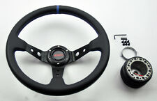 Civic Integra JDM Sport Black Blue Dish Steering Wheel w/ Boss Kit Hub Adapter