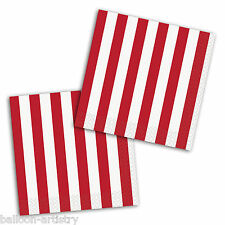 16 RED White Stripes Style Party Disposable 25cm Paper Beverage Napkins