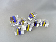 30grams approx. 9-11mm CLEAR MULTI-COLOR GLASS CUBE BEADS LOT G1673