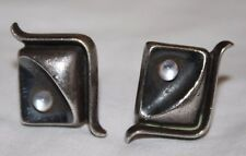 Gorgeous Vintage Modernist Taxco Mexico Sterling Silver Men's Cufflinks
