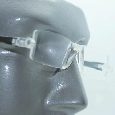 Reading Glasses No-See Frameless Lightweight Black Color Accent Sides +1.50