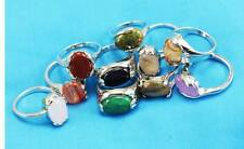 wholesale 10pcs Thick Silver mixed 100% Natural stone rings Jewelry 6-10 Y179