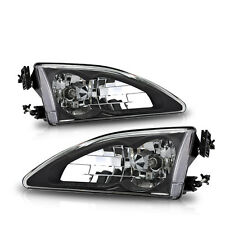 1994-1998 Ford Mustang Cobra Headlight Black Front Left & Right Head Lamps PAIR