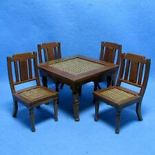 Dollhouse Miniature Dining / Kitchen Table Set with Chairs ~ Pecan Weave T7176