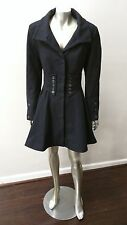 BETSEY JOHNSON BLACK CORSET/FIT FLARE PLEATED COAT sz M
