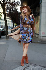 BNWOTags H&M Blue/Tan Floral size (L)16/18 Long Sleeve Fit&Flare/Skater Dress