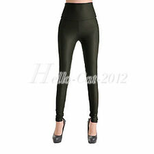 Women High Waist Wet Look Faux Leather Leggings Stretchy Slim Pants Trousers
