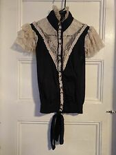 Lip Service Step In Time Blouse Top Steampunk Lace Ruffle Sleeve Black Medium
