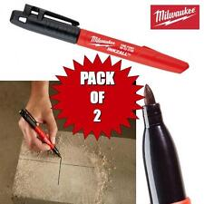 2  PACK MILWAUKEE 1mm INKZALL FINE TIP MARKER PEN BLACK  DUST WET OILY SURFACES