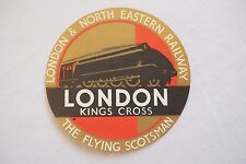 LNER Flying Scotsman London Kings Cross Original Art Deco Railway Luggage Label