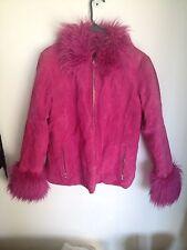 CLUELESS 90s VINTAGE Hot Pink Cyber Punk Suede Leather Faux Fur Coat Jacket SZ L