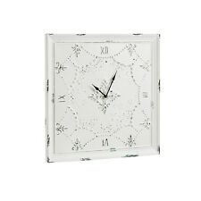French Country Shabby Cottage Chic - Antique Distressed White Square Wall Clock