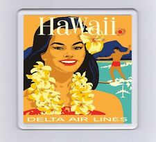 Vintage Air Travel Poster Drink Coaster - Hawaii Delta Air Lines