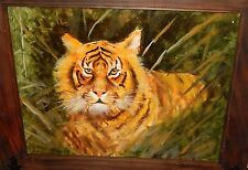 ORIGINAL OIL ON BOARD TIGER PAINTING UNSIGNED