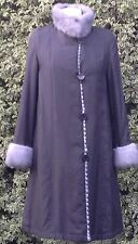 Reversibili ** CHINCHILLA FUR + SETA ** lunghezza totale cappotto overcoat UK 12 pratici