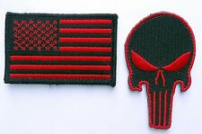 PUNISHER SKULL US FLAG RED BLACK EMBROIDERED TACTICAL COMBAT  HOOK PATCH