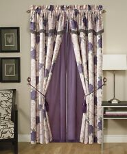 Chezmoi Collection Jacquard Purple Rose Window Curtain Set w/ Valance Tassels