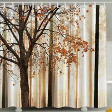 Fabric Fall Trees Falling Leaves SHOWER CURTAIN Autumn Foliage Bath Brown Maple