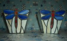 2 Hand-Made Orange Blue Dragonfly Stained Glass Tea T-Lite Votive Candle Holders