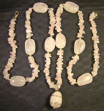 "Chunky Polished Rose Quartz Pink Stone Extra Long 34"" Pendant Necklace"