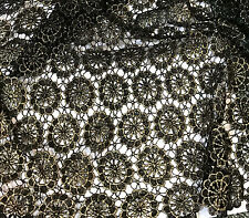 """Black & Metallic Gold Circle Flowers LACE Fabric 9""""x22"""" remnant"""