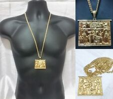 Gold Egyptian Tablet King Necklace Pendant Hip Hop Iced Out Gold Cuban Chain